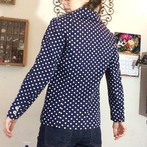 Vintage Jackets & Coats - Vintage Cotton Polka Dot Pink Up Navy Blazer
